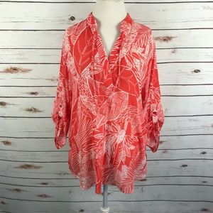 Chicos Tropical Print V-Neck Blouse Top Size 3
